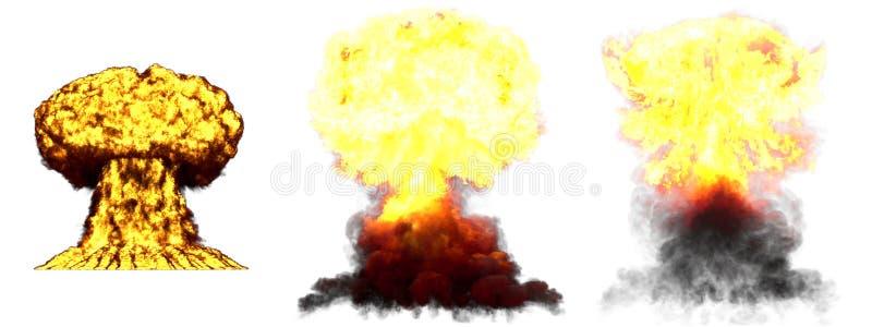 3D illustratie van explosie - de wolkenexplosie van de 3 grote zeer hoogst gedetailleerde verschillende fasenpaddestoel van water stock afbeelding