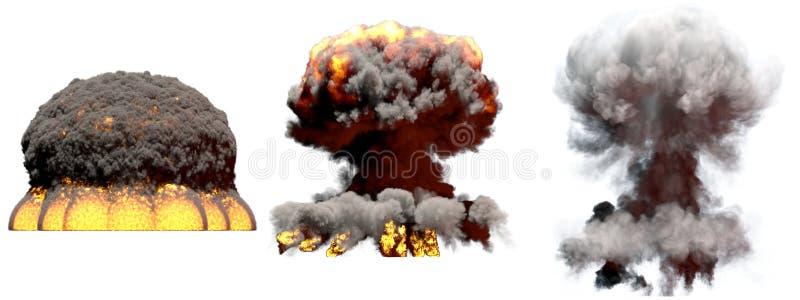 3D illustratie van explosie - 3 reusachtige verschillende fasen steken de explosie van de paddestoelwolk van atoombom met rook en royalty-vrije illustratie