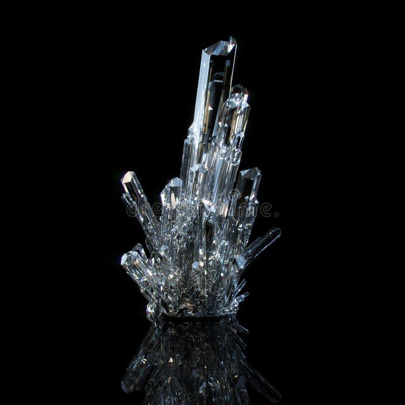 3d Illustratie van Gekweekte Transparante Glanzende Kristallen royalty-vrije illustratie