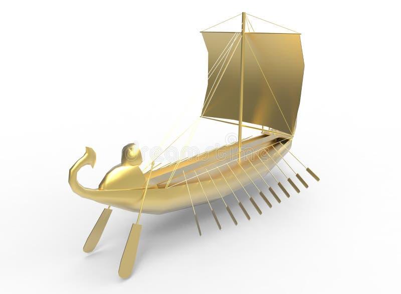 3d illustratie van gouden Egyptische boot royalty-vrije illustratie
