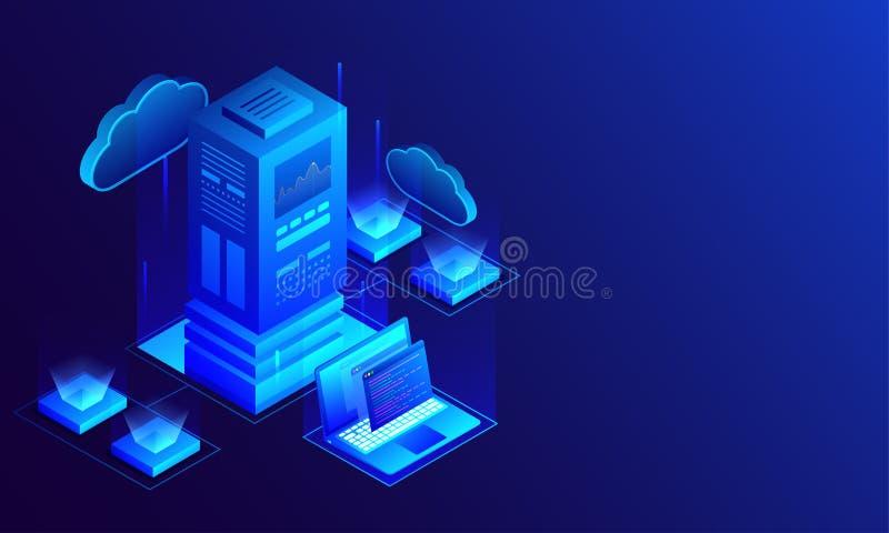 3D illustratie van grote die gegevensserver aan laptop en loc wordt aangesloten stock illustratie