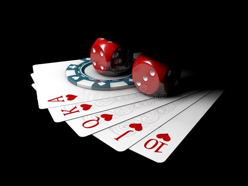 3d Illustratie van grote weddenschap voor speelkaarten op geld, op een zwarte achtergrond stock illustratie