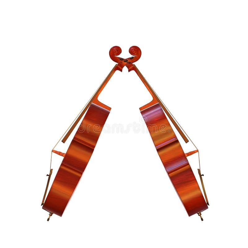 3d illustratie van het cello de muzikale instrument royalty-vrije illustratie