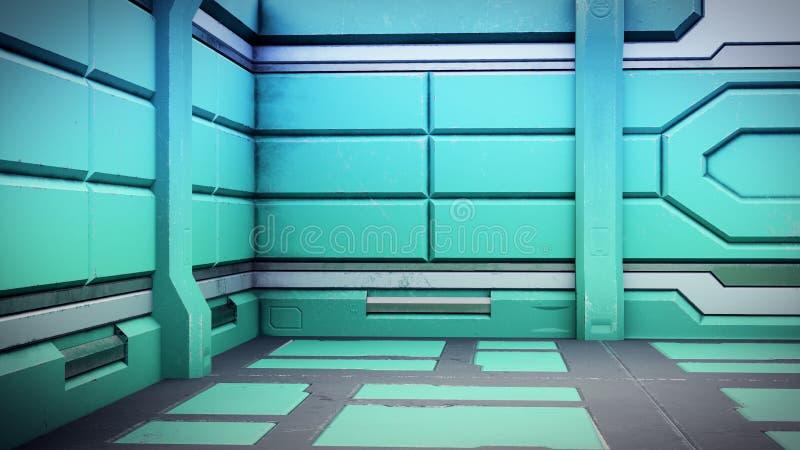 3d illustratie van het futuristische binnenland van het ontwerpruimteschip render vector illustratie