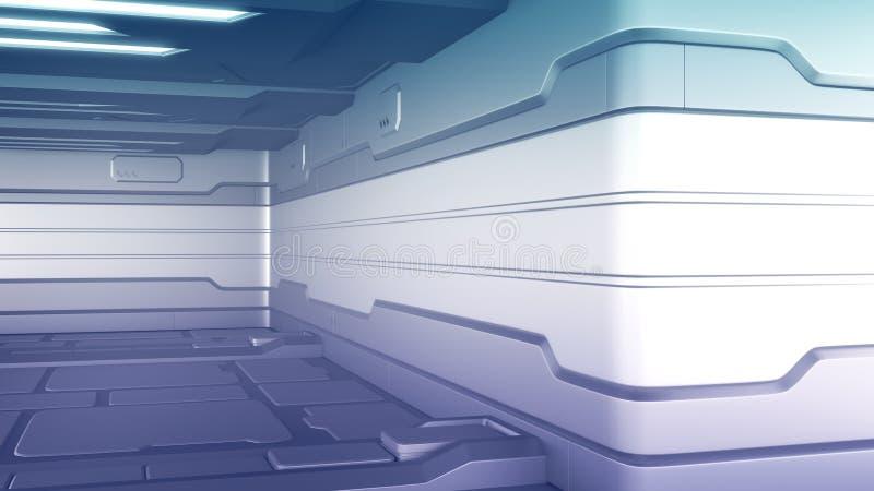 3d illustratie van het futuristische binnenland van het ontwerpruimteschip render royalty-vrije illustratie