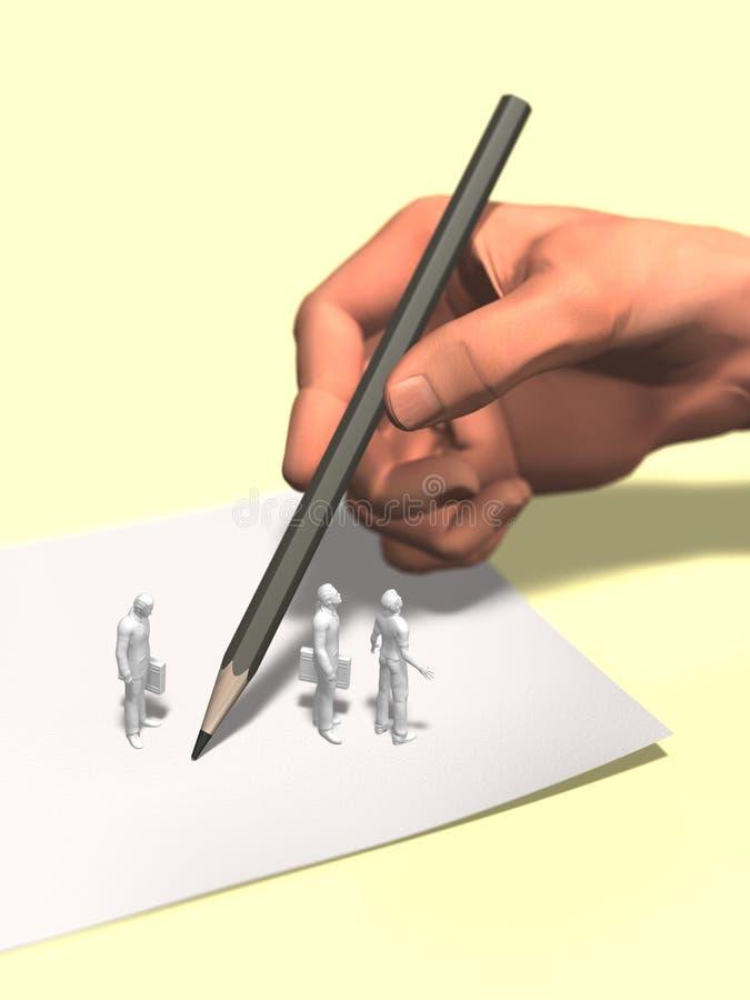 3D illustratie van het letten van de op grote hand onder het schrijven royalty-vrije illustratie