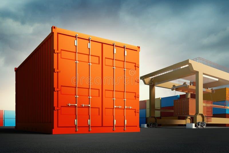 3d illustratie van industriële haven met containers vector illustratie