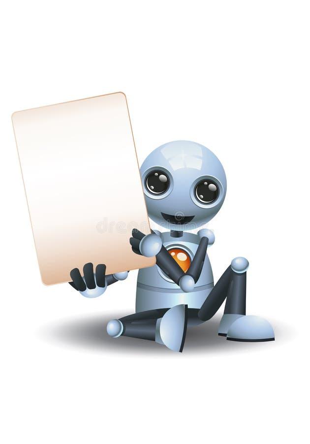3d illustratie van kleine robot bevat blanco bordcommunicatie terwijl u op de vloer zit royalty-vrije illustratie