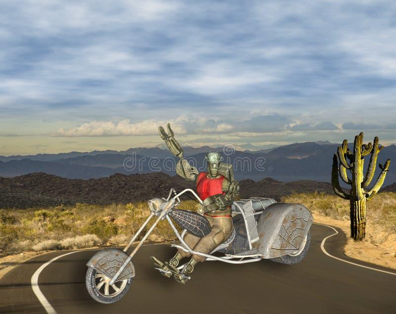 3D Illustratie van Kleurrijke Robotachtige Fietser op Woestijnweg royalty-vrije illustratie