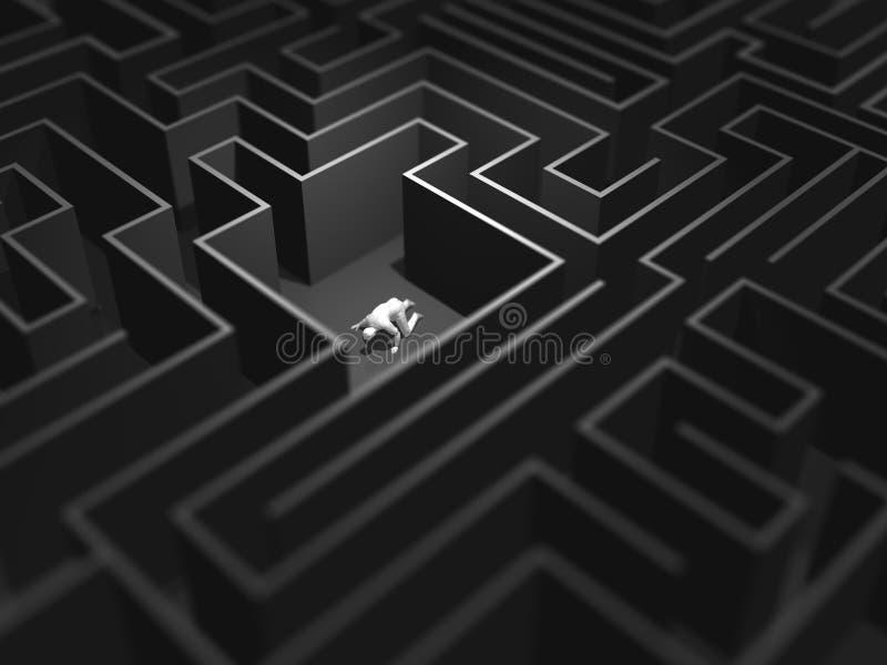 3D illustratie van labyrintlabyrint stock illustratie