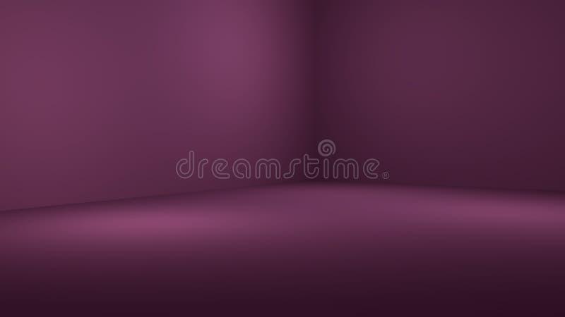 3D illustratie van lege 3D ruimte met schijnwerper op gekleurde gradi?ntachtergrond met ruimte om uw product of kunstwerk te demo stock illustratie