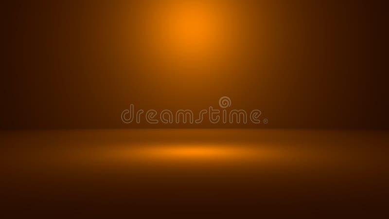 3D illustratie van lege 3D ruimte met schijnwerper op oranje gradiëntachtergrond met ruimte om uw product of kunstwerk te demonst royalty-vrije illustratie