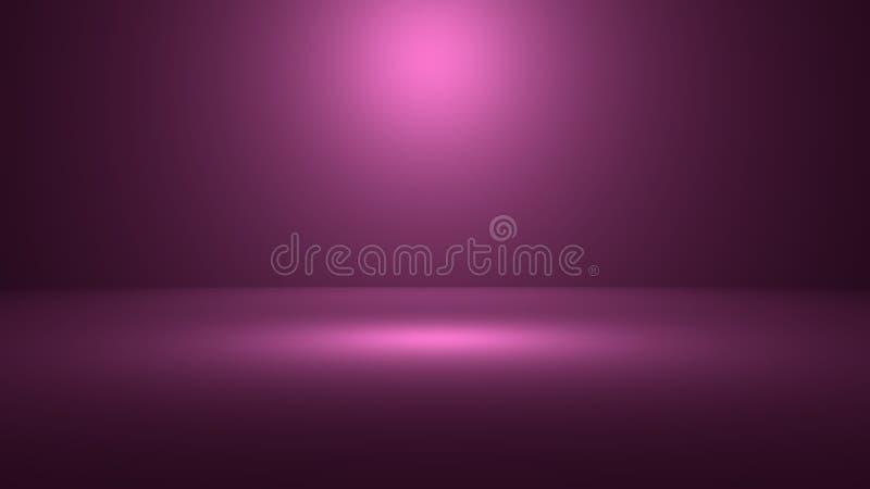 3D illustratie van lege 3D ruimte met schijnwerper op purpere gradiëntachtergrond met ruimte om uw product of kunstwerk te demons stock illustratie