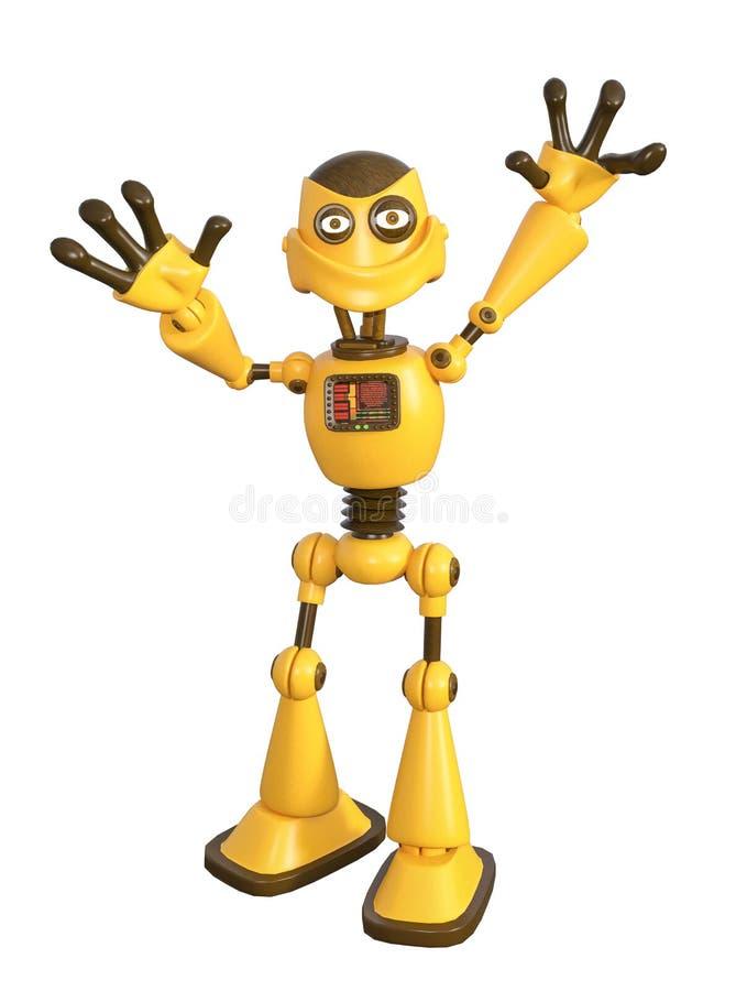 3D Illustratie van Leuke Gele Robot royalty-vrije illustratie