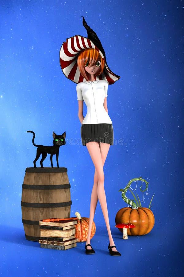 3D Illustratie van leuke schoolmeisjeheks met haar zwarte kat door haar kant vector illustratie