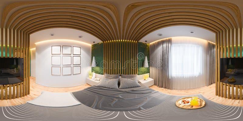 3D illustratie van naadloos panorama 360 van de hoofdslaapkamers in een privé huis, een buitenhuis royalty-vrije illustratie