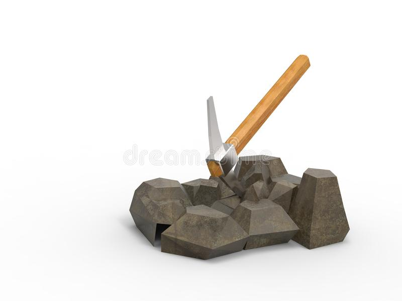 3d illustratie van oogst op de rotsen stock illustratie