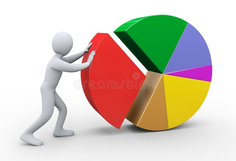 3d mens die cirkeldiagram voltooien stock illustratie