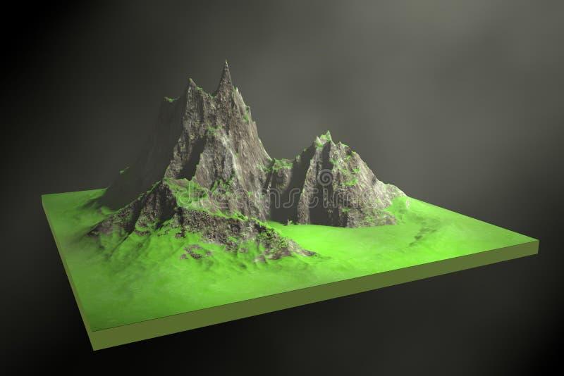 3d illustratie van rotsachtige bergen op een abstracte achtergrond royalty-vrije illustratie