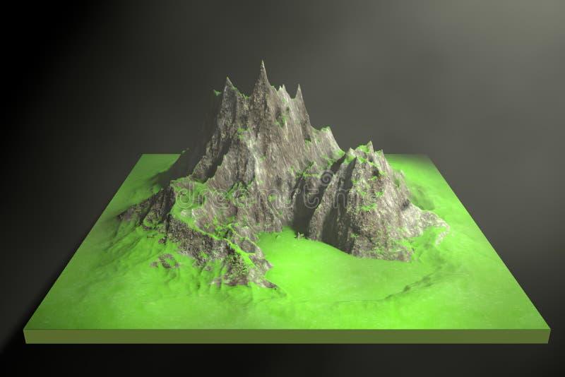 3d illustratie van rotsachtige bergen op een abstracte achtergrond stock illustratie