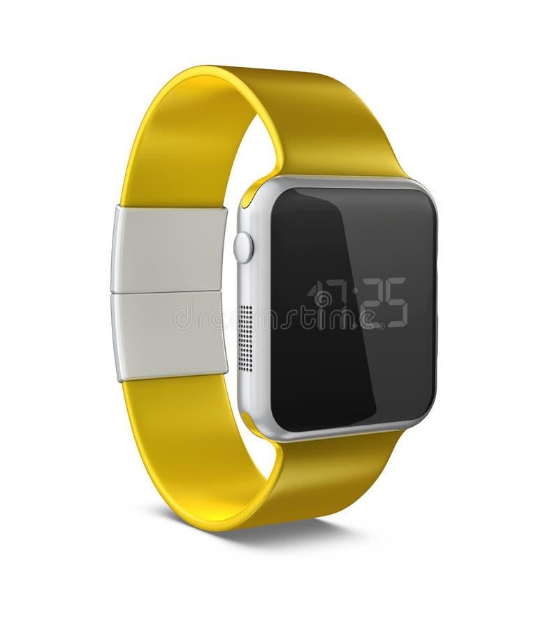 3D illustratie van Smart Watch met Digitale Vertoning isoleerde wit vector illustratie