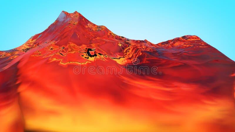 3D illustratie van surreal geleibergen vector illustratie