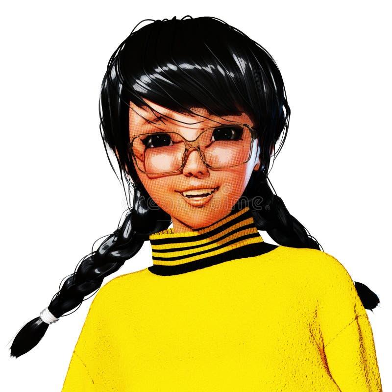 3D Illustratie van Toon Girl royalty-vrije illustratie