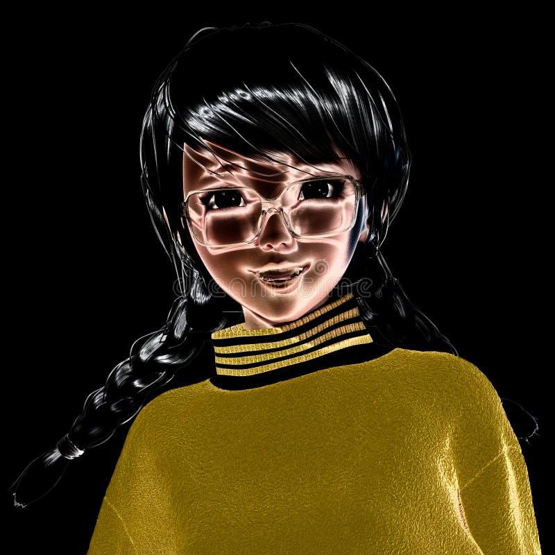 3D Illustratie van Toon Girl stock illustratie