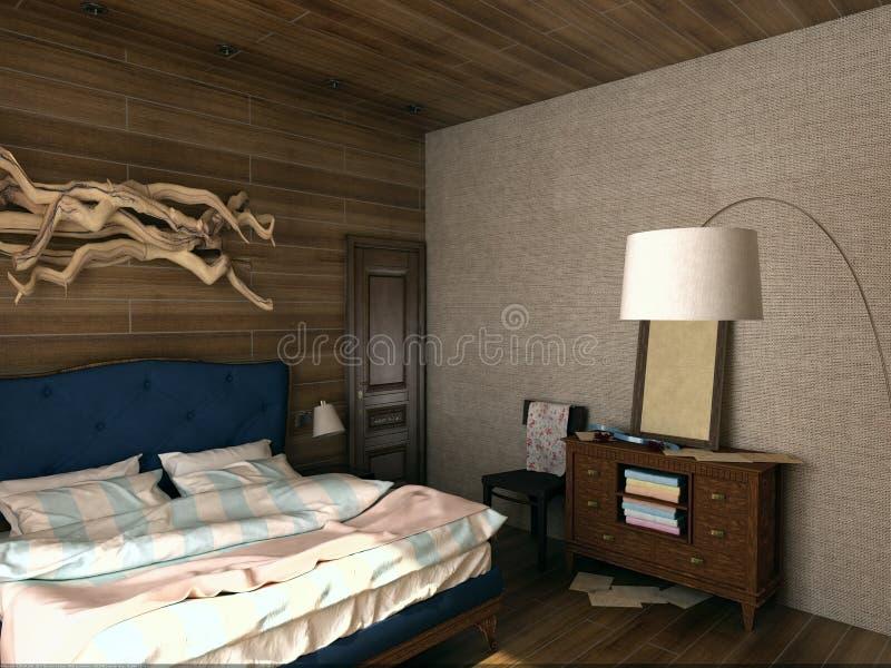 3D illustratie van uitstekende comfortabele slaapkamer royalty-vrije stock fotografie