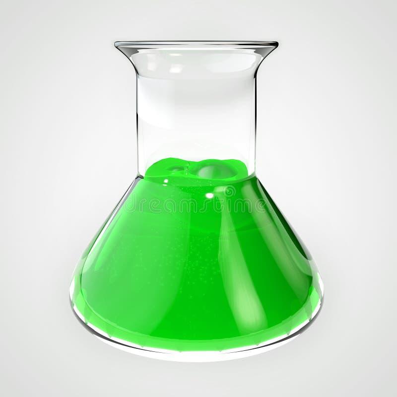 3d illustratie van vergiftfles, flesje, buis, drankje Fles met groene vloeistof wordt gevuld die stock illustratie
