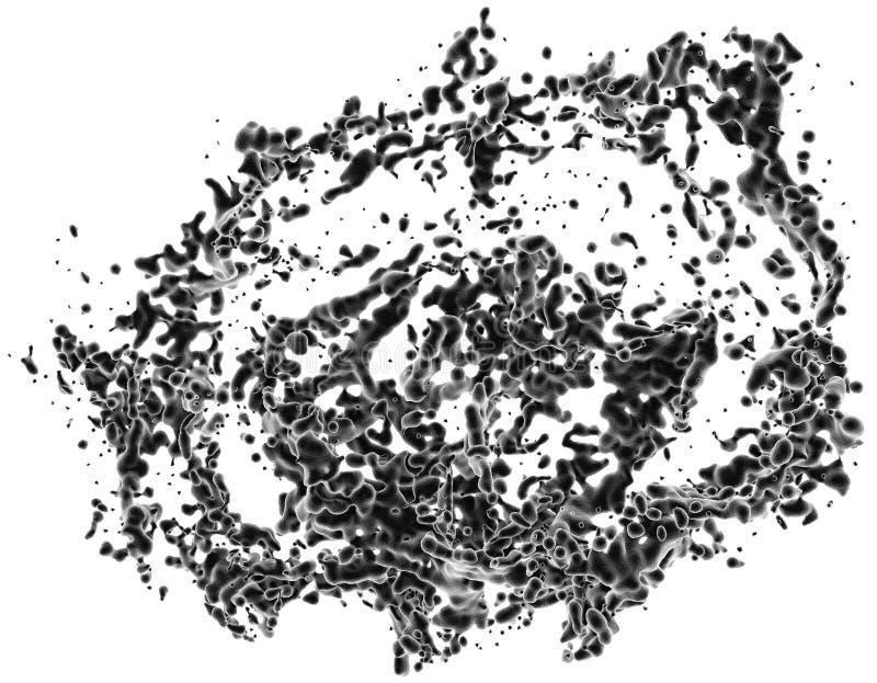 3D illustratie van vloeibare plonsmotie stock foto's