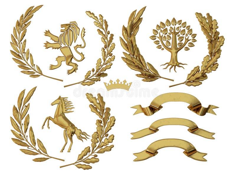 3D illustratie van wapenkunde Een reeks voorwerpen De gouden olijf vertakt zich, eiken takken, kronen, leeuw, paard, boom royalty-vrije illustratie