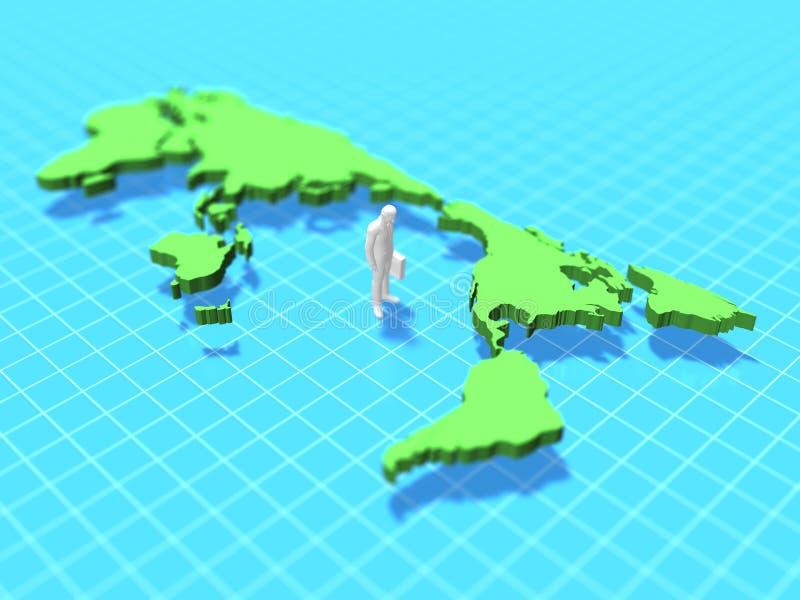 3d illustratie van Wereldkaart stock illustratie