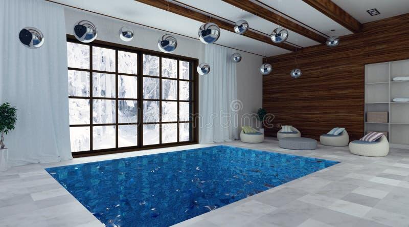 3d illustratie van zwembad stock afbeelding