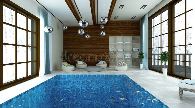 3D illustratie van zwembad met modern zitkamergebied stock afbeelding