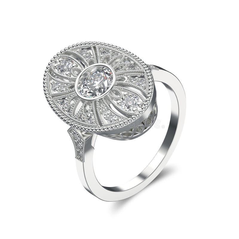 3D illustratie zilveren etnische ring met diamanten en ornament stock illustratie