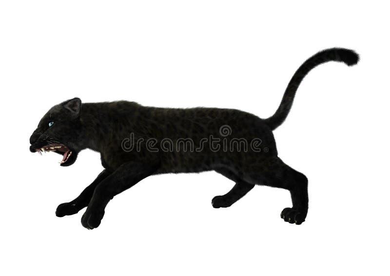 3D Illustratie Zwarte Panter op Wit royalty-vrije illustratie