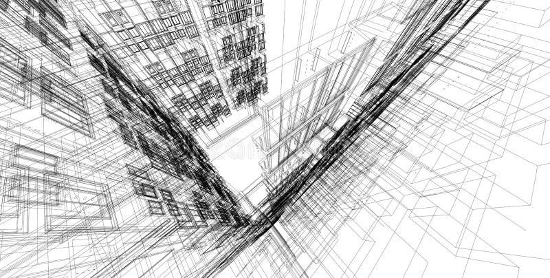 3D illustratiearchitectuur lijnen van het de bouwperspectief stock foto