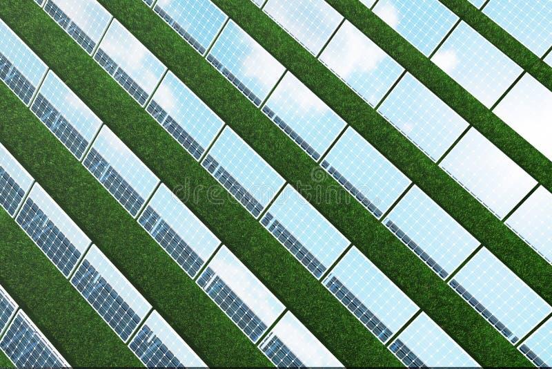 3D illustratiebezinning van de wolken op de photovoltaic cellen Blauwe zonnepanelen op gras Conceptenalternatief stock illustratie