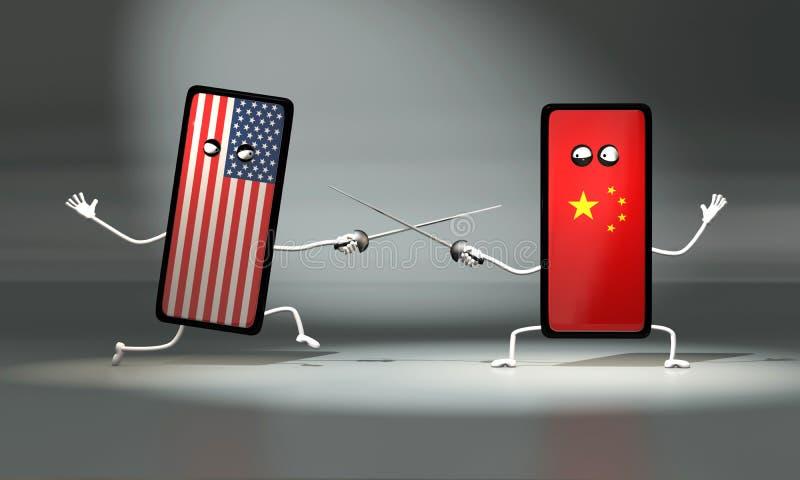 3d illustratieduel tussen Amerikaanse en Chinese telefoon Duel met zwaarden stock illustratie