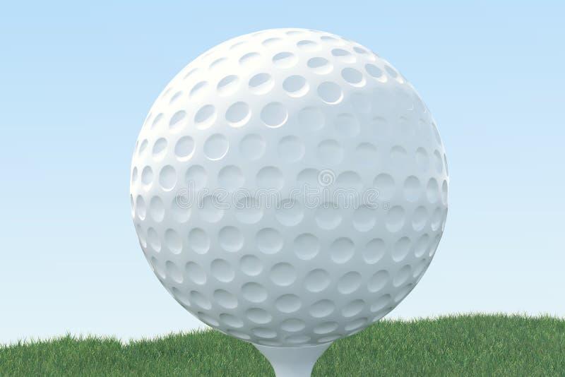 3D illustratiegolfbal en de bal in gras, sluiten omhoog mening over T-stuk klaar om worden geschoten Golfbal op hemelachtergrond stock illustratie