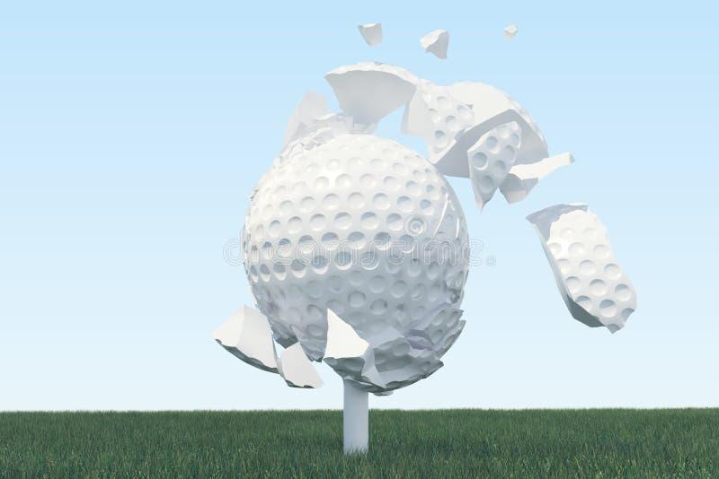 3D illustratiegolfbal verspreidt zich aan stukken nadat een sterke slag en een bal in gras, omhoog mening over T-stuk klaar te zi vector illustratie