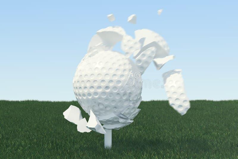 3D illustratiegolfbal verspreidt zich aan stukken nadat een sterke slag en een bal in gras, omhoog mening over T-stuk klaar te zi stock illustratie