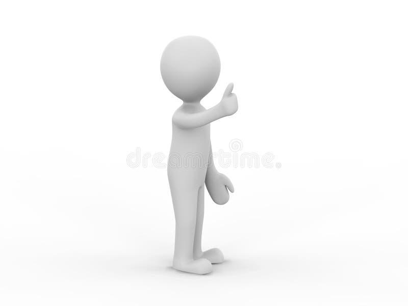 3D illustratiemens die uw product voorstellen geeft de duimen op o royalty-vrije illustratie