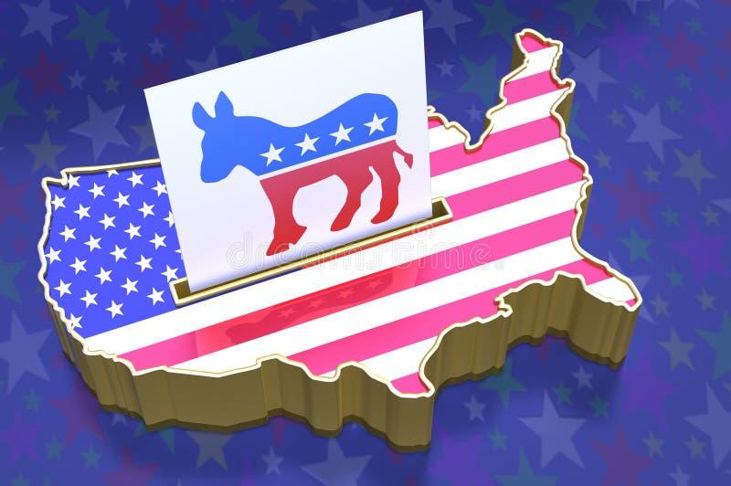 3D Illustratiestembus in vorm van de kaart van de V.S. met vlag superim vector illustratie