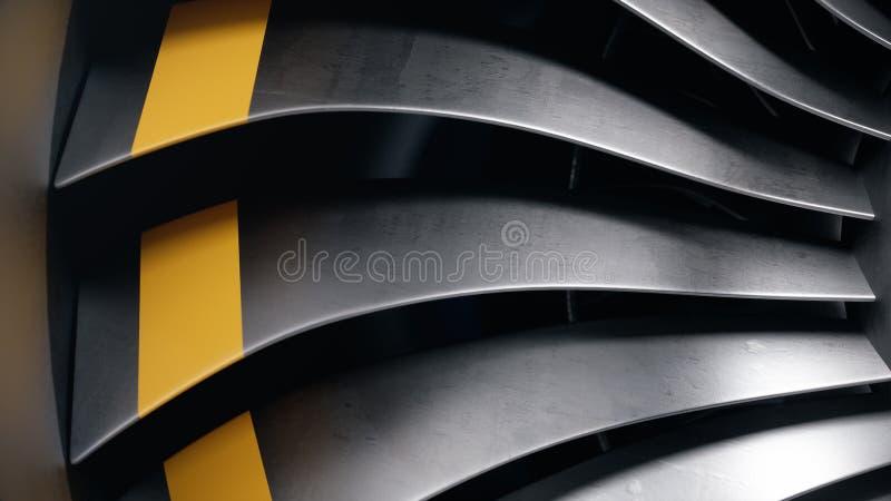 3D illustratiestraalmotor, de straalmotorbladen van de close-upmening Roterende bladen van de turbojet Een deel van het vliegtuig vector illustratie