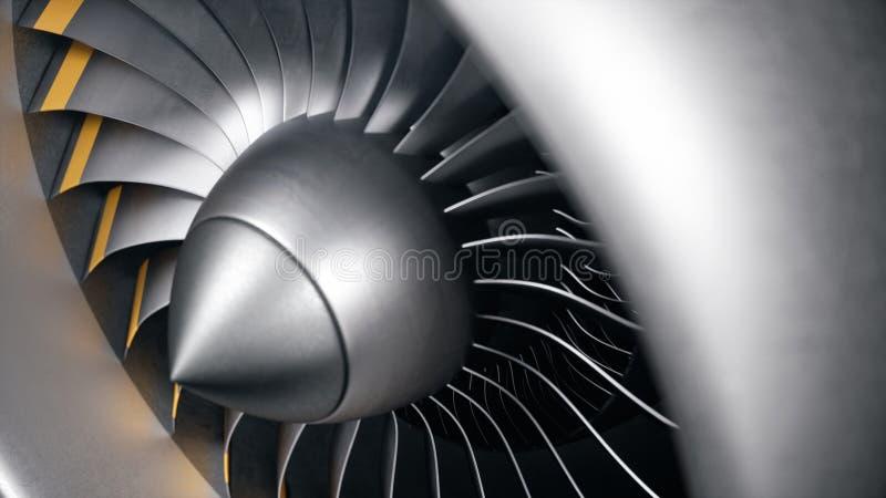 3D illustratiestraalmotor, de straalmotorbladen van de close-upmening Roterende bladen van de turbojet Een deel van het vliegtuig royalty-vrije illustratie