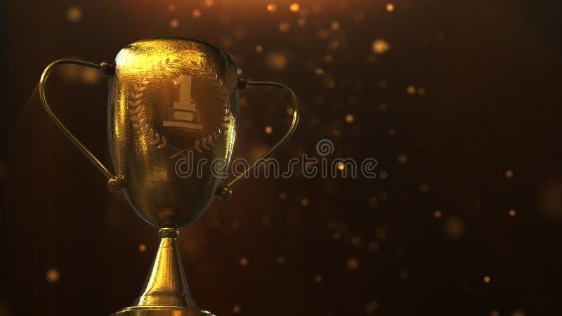 3D illustratietoekenning, Trofee op oranje achtergrond wordt geïsoleerd die stock illustratie