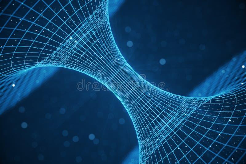 3D illustratietunnel of wormhole, tunnel die één heelal aan een andere kan verbinden De abstracte afwijking van de snelheidstunne royalty-vrije illustratie