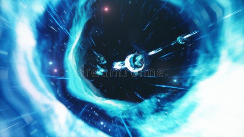 3D illustratietunnel of wormhole, tunnel die ??n heelal aan een andere kan verbinden De abstracte afwijking van de snelheidstunne stock illustratie